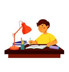 boy doing homework - colorful flat design style vector image
