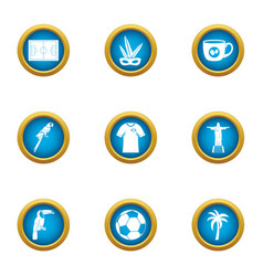 Brazil country icons set flat style vector