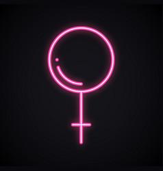 bright neon gender women sign glowing pink sex vector image