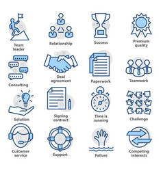 business management icons set in line style vector image