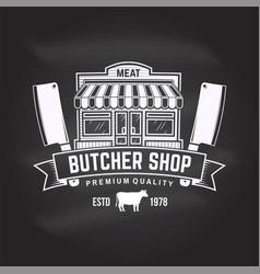 Butcher meat shop badge or label with meat store vector