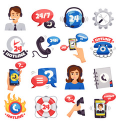 call center colorful icons collection vector image vector image