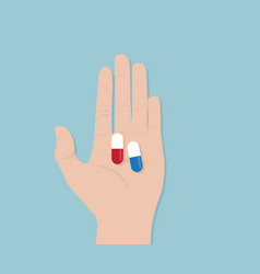 capsule pill in human hand vector image