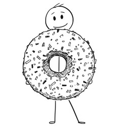 Cartoon of smiling man holding big donut or vector