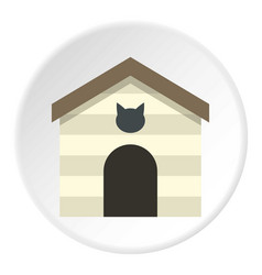 Cat house icon circle vector