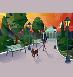character of elegant man with dog on leash vector image