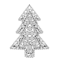 Christmas tree in zentangle style vector image