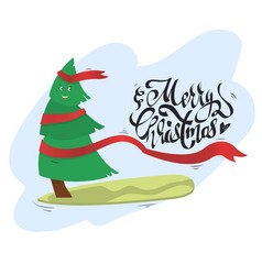 Christmas tree with smile riding on a vector