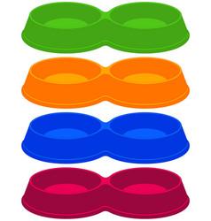 colorful cartoon empty 2 sections pet bowl set vector image