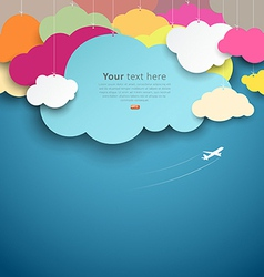Colorful paper cut clouds shape design vector image