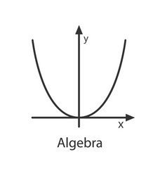 Coordinate system with parabola linear icon vector