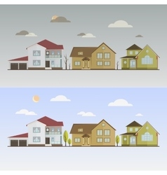 Countryside with houses vector