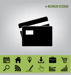 Credit card sign black icon at gray vector