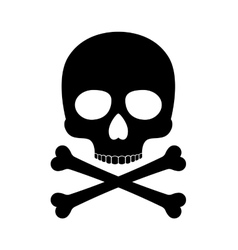 Crossbones skull death silhouette icon vector image