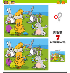 Differences task with comic easter characters vector