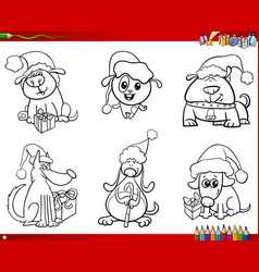 Dogs on christmas set coloring book vector
