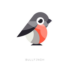 Flat geometric icon of bullfinch small passerine vector