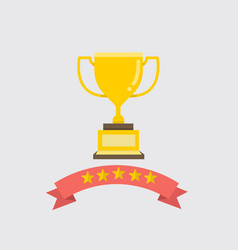 flat gold trophy with ribbon and five stars vector image