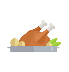 fried poultry in flat design vector image