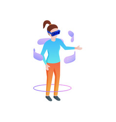 Girl fashion wear vr glasses and chat social vector
