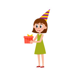 Girl woman in birthday hat holding giving present vector