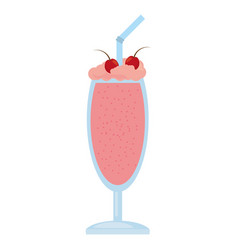 glass cup milk shake cherry vector image