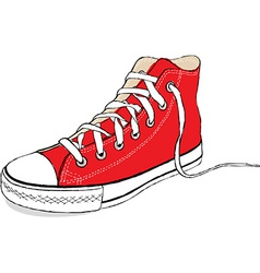 hand draw modern red sport shoes vector image