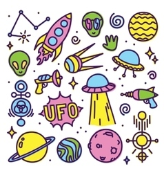 Hand drawn cartoon Alien space set vector image