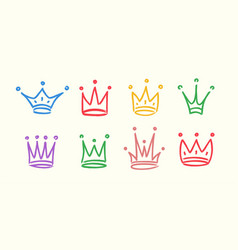 hand drawn crowns icon set isolated on white vector image