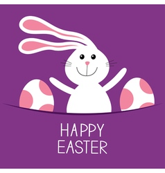 Happy Easter Bunny rabbit hareand pained egg in vector image