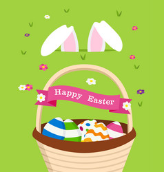 happy easter card bunny and holiday eggs vector image