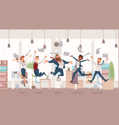 Happy office workers jumping vector