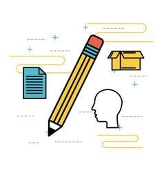 idea pencil study creative paper head vector image