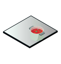 Induction cooker icon isometric style vector