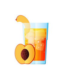 juice peach fresh juicy glass citrus vector image