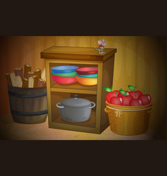 Kitchen with apples and shelves vector