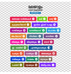 malayalam buttons set vector image