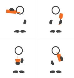man icon with drink color vector image