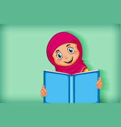 Muslim girl reading from quran vector