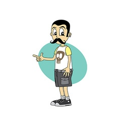 mustache male cartoon character finger gesture vector image