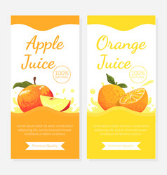 orange apple juice label templates set paper box vector image