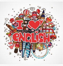Phrase i love english educational and travelling vector