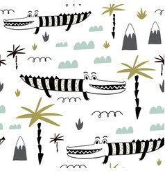 seamless childish pattern with hand drawn cute vector image