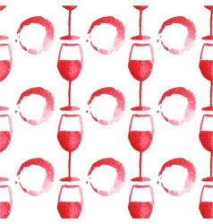 Seamless watercolor pattern with wine glass and vector