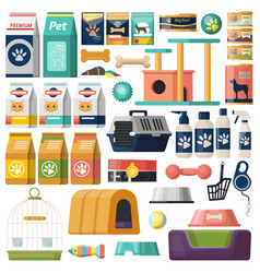 set isolated pet items food for cat and dog vector image