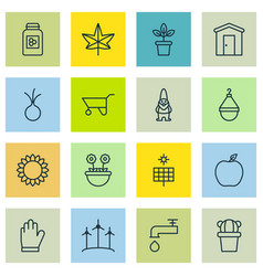 Set of 16 agriculture icons includes autumn plant vector