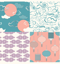 set of chinese seamless patterns vector image
