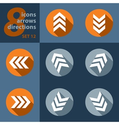 Set of eight arrows in all directions vector