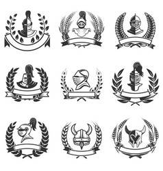 Set of the emblems with knights helmets and swords vector