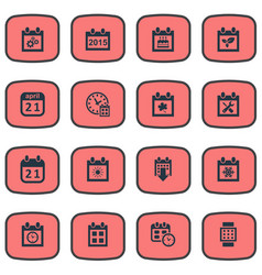 set simple calendar icons vector image